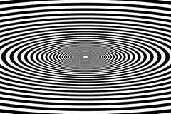 Túnel oval, drawi óptico psicodélico geométrico blanco y negro ilustración del vector