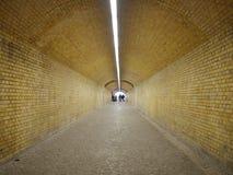 Túnel peatonal con la lámpara larga del techo Fotografía de archivo libre de regalías