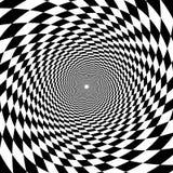 Túnel psicodélico, modelo en blanco y negro, triunfo del tablero de ajedrez stock de ilustración