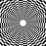Túnel psicodélico, modelo en blanco y negro, triunfo del tablero de ajedrez ilustración del vector