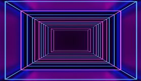 Túnel quadrado de néon do estilo retro no espaço cor-de-rosa e azul do cyber 3D rendido imagens de stock