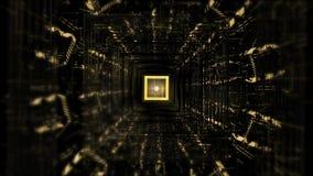 Túnel quadrado do ouro e do fundo preto dos gráficos do movimento com linhas e luz video estoque