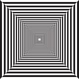 Túnel rayado geométrico, dibujo blanco y negro, psicodélico ilustración del vector