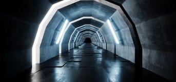 Túnel reflexivo telhado concreto Hall With Blue Lights Futuristic do corredor do assoalho do Grunge longo vazio estrangeiro arcad ilustração stock
