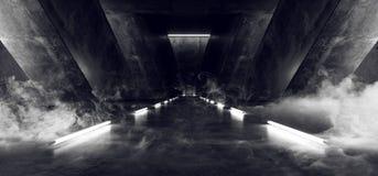 Túnel subterráneo Hall Glowing Windows White Led de la nave espacial de Sci Fi del humo del cemento del garaje concreto brillante ilustración del vector