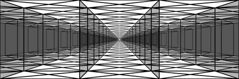 Túnel triple con las paredes transparentes, pasillos largos, psychedeli foto de archivo