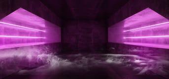 Túnel vacío púrpura vibrante fluorescente de neón futurista de Violet Glowing Grunge Concrete Dark de la realidad virtual de Sci  ilustración del vector