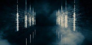 Túnel vacío, viejo abstracto, pasillo, arco, sitio oscuro, iluminación de neón, humo grueso, niebla con humo ilustración del vector