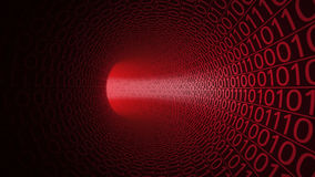 Túnel vermelho abstrato feito com zero e uns Fundo moderno Computadores, transferência de dados binários, tecnologias digitais Imagem de Stock Royalty Free