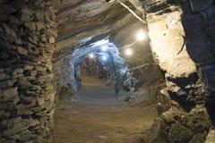 Túneles de la mina de oro Foto de archivo libre de regalías