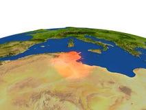 Túnez en rojo de la órbita ilustración del vector