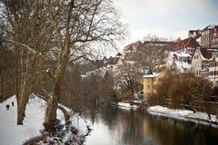 Tübingen dat van de rivier Neckar, Duitsland wordt gezien royalty-vrije stock afbeelding