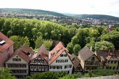 Tübingen / Tuebingen in Germany. View of the historic town of Tuebingen, Germany located in Baden-Wuerttemburg. This photograph was taken atop the castle Stock Images