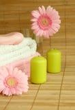 Tücher, Kerzen und rosafarbenes gerber lizenzfreies stockfoto