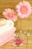 Tücher, Seife, Kerze und Blumen. lizenzfreie stockfotografie