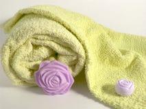 Tücher und Seife stockbild