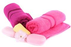 Tücher und Seifen Stockbild