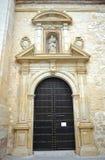 Tür der Jungfrau des Rosenbeetes in der Kirche des Heiligen Peter Martyr in Lucena, Provinz von Cordoba, Spanien lizenzfreies stockbild