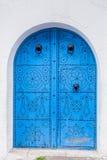 Tür des traditionellen Hauses in Sidi Bou Said in Tunesien Lizenzfreies Stockbild