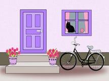 Tür, Fenster und Fahrrad und Katze Stockbild