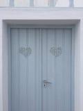 Tür-Haus-Flitterwochen Santorini Romantc Stockfotografie