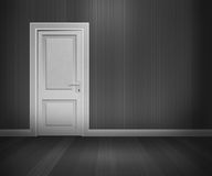 Tür im Retro- Raum Schwarzweiss lizenzfreie abbildung