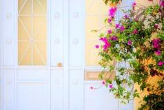 Tür mit Blumen Stockfotos