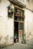 Tür mit Blumen, Hund und Pushcart Stockbild