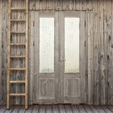 Tür mit eisigem Fenster des Plankenhauses Lizenzfreies Stockbild