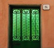Tür mit grünem Glas Lizenzfreies Stockbild