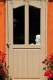 Tür mit menschlicher Statue Stockbild