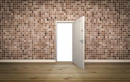 Tür offen auf Backsteinmauer, 3d stockbilder