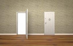 Tür offen auf Backsteinmauer, 3d, weißer Hintergrund lizenzfreies stockfoto
