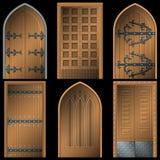 Tür zu den Mittelalter auf einem schwarzen Hintergrund Stockbild