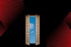 Tür zum blauen Himmel Stockfotos