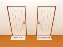 Türen mit Fußmatten hallo und Auf Wiedersehen Stockfotos