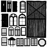 Türen und Fensterschattenbildset Lizenzfreie Stockbilder