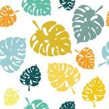 Türkis-, Grüne und Senf-farbigetropische Blätter Stock Abbildung