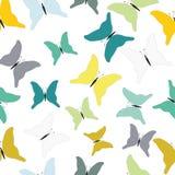Türkis-, Grüne und Senf-farbigetropische Schmetterlinge Nahtloses Muster Stock Abbildung