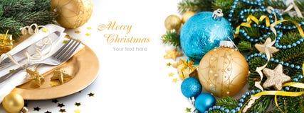 Türkis und goldene Weihnachtsverzierungen Stockfotografie