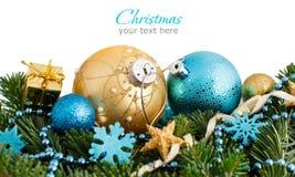 Türkis und goldene Weihnachtsverzierungsgrenze Stockbilder