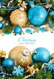 Türkis und goldene Weihnachtsverzierungsgrenze Lizenzfreies Stockbild