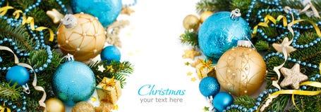 Türkis und goldene Weihnachtsverzierungsgrenze Stockfoto