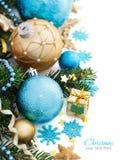 Türkis und goldene Weihnachtsverzierungsgrenze Stockbild
