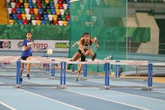 Türkische athletische Vereinigungs-Innenleichtathletik-Aufzeichnungs-Versuchs-Rennen Stockbilder