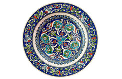 Türkische dekorative Flieseplatte - getrennt Stockbild