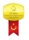 Türkische Flaggen-Goldmedaille Tag der Republik-Feier stockfoto