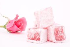 Türkische Freude mit rosafarbenem Aroma lizenzfreies stockbild