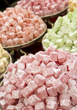 Türkische Freuden-Bonbons an der Messe Stockbilder