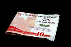 Türkische Lira - Anmerkung der Lira 10YTL Stockfotos